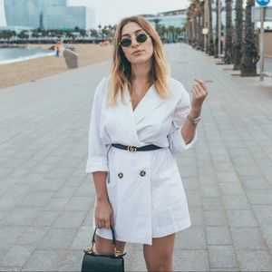 LPA Double Breasted Jacket Long White Linen Blend